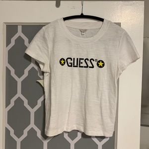 White Guess Logo Slightly Cropped Top